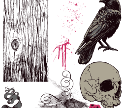 Vector T-Shirt Design with Skull, Scroll, Splatter, Crow, Rose and Wood Texture