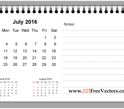 July 2016 Printable Calendar with Notes