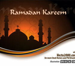 Ramadan Kareem Vector Greeting Card Design