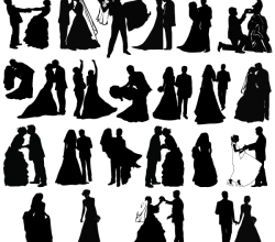 Newly Married Couple Silhouettes Vectors Free