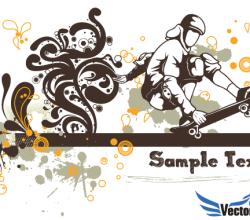 Floral Skater Vector Background Design