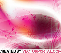 Gradient Mesh Pink Background with Floral Elements Vector