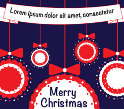 Free Vector Merry Christmas Balls with Ribbon Greeting Card Design