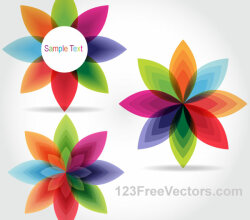 Colorful Fantasy Flowers Vector Graphics