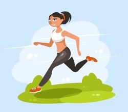 Young girl running vector