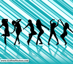 Dancing Girl Silhouettes With Striped Background