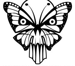 Vector Butterfly Skull