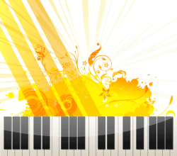 Vector Abstract Floral Grungy Background with Piano Keys