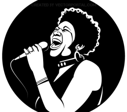Black Female Singer Vector