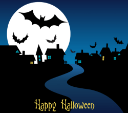 Happy Halloween Night Card Design Vector Image