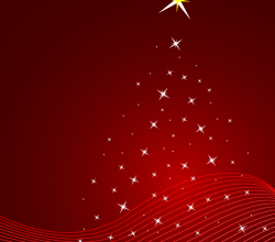 Vector Red Christmas Background with Stars