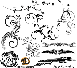 Vector Samples: Floral, Tech Shapes and Tribal Designs