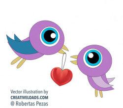 Vector Birds in Love Valentine'S Day Graphics