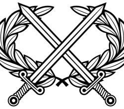 Vector Heraldic Cross Swords with Laurel Wreath