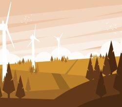 Wind turbines vector