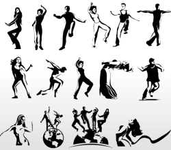 Aerobic Art Dancer Silhouettes Vector