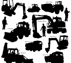 Heavy Duty Construction Equipment Silhouettes Vector Art