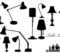 Vector Table Lamps Silhouettes Free