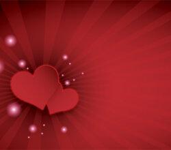 Happy Valentine's Day Red Hearts on Sunburst Background Design