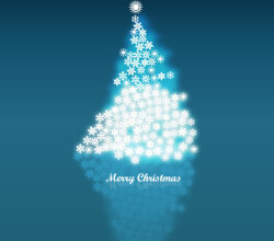 Snowflake in Christmas Tree Background Vector Image