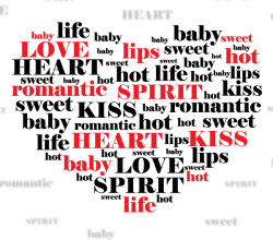 Love Heart Shape Word Cloud Vector Illustration