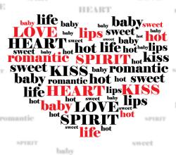 Love Heart Shape Word Cloud Vector Illustration
