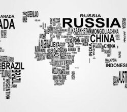 Vector World Map: Countries in Word Cloud
