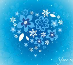 Blue Floral Heart