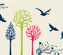 Trees, Flowers and Birds Silhouettes Vectors Free