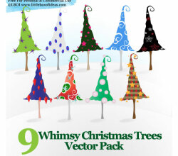Vector Whimsy Christmas Trees