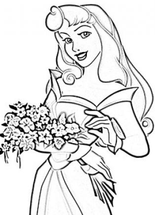 Princess Aurora Loves Christmas coloring page | Free Printable ... | 437x314