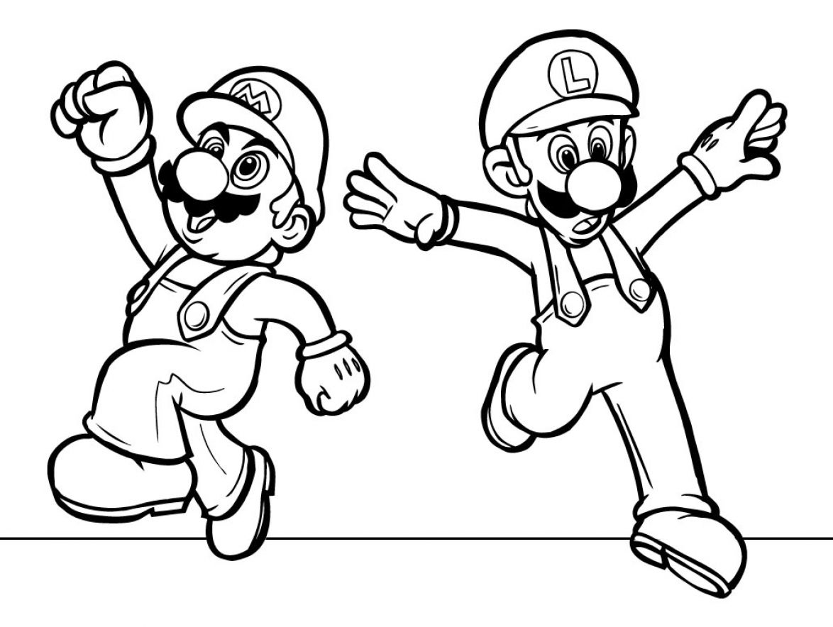 mario characters colouring pages
