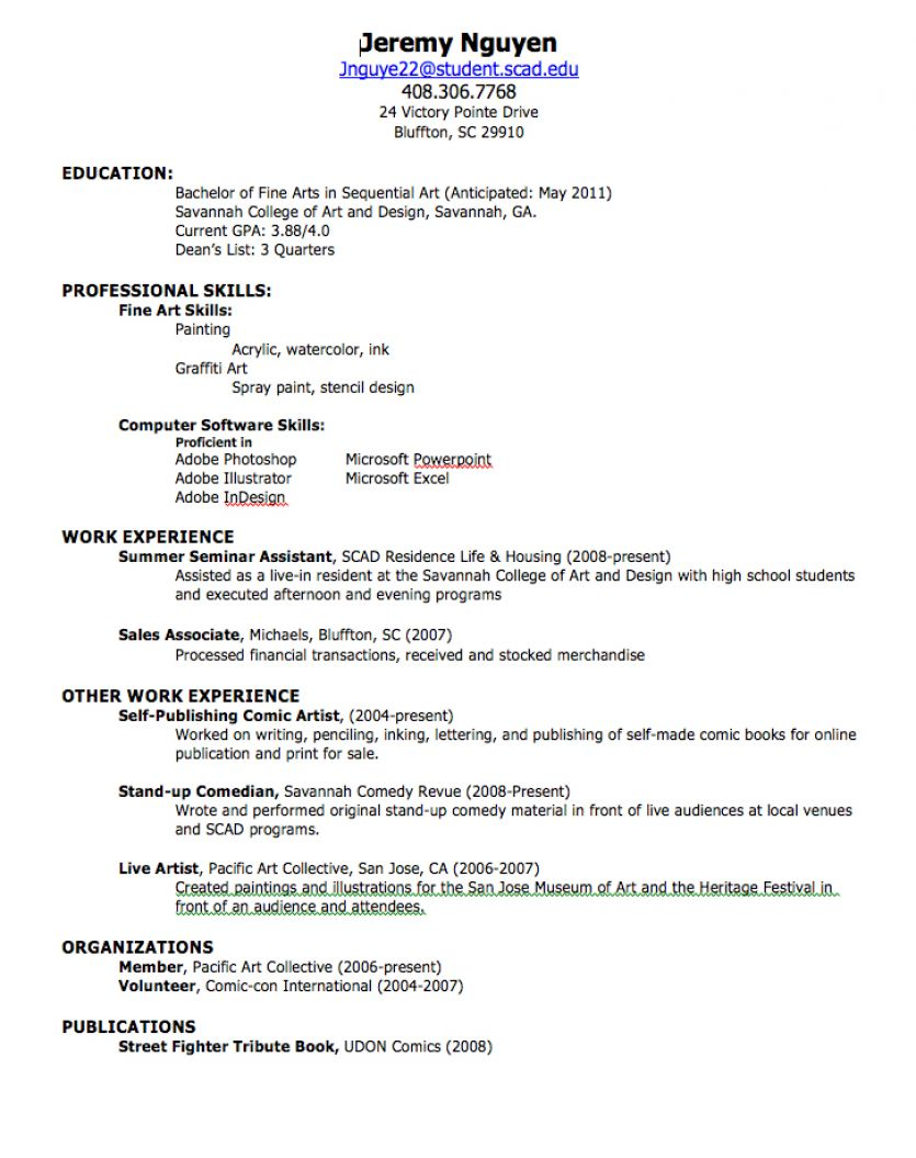 making resume for first job