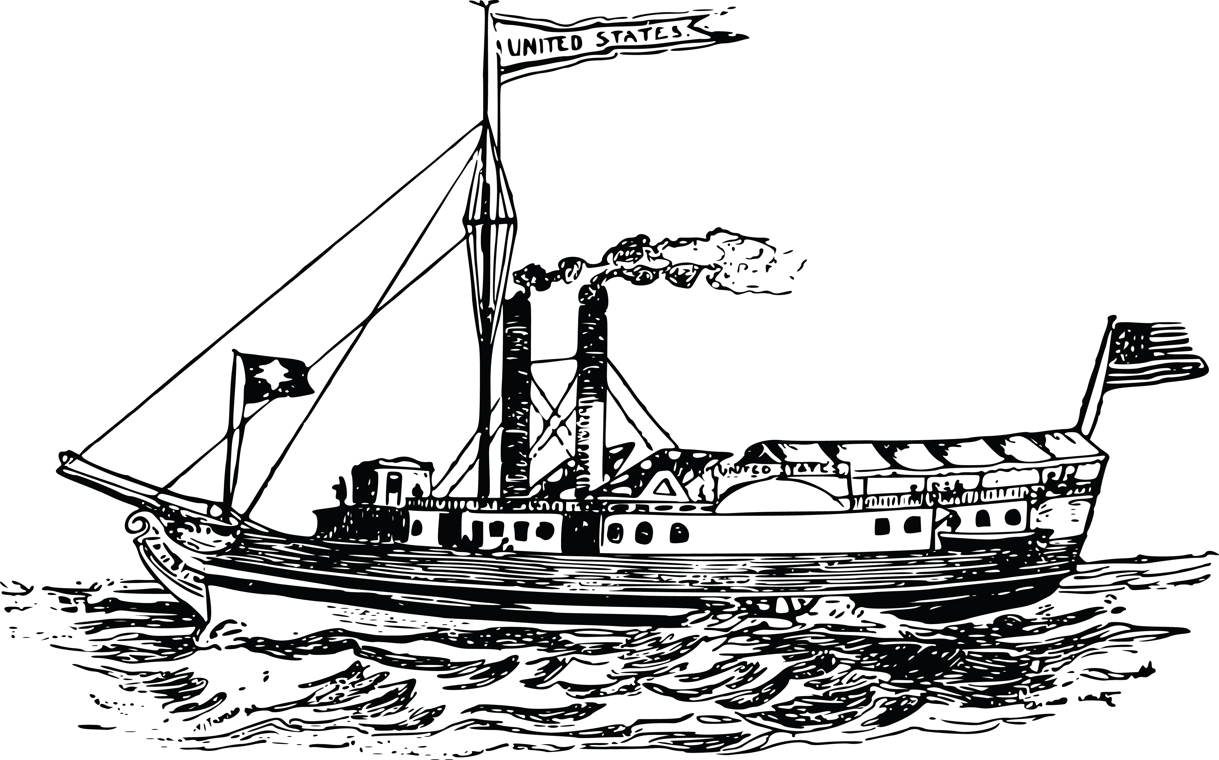 Free Clipart Of A Steam Boat
