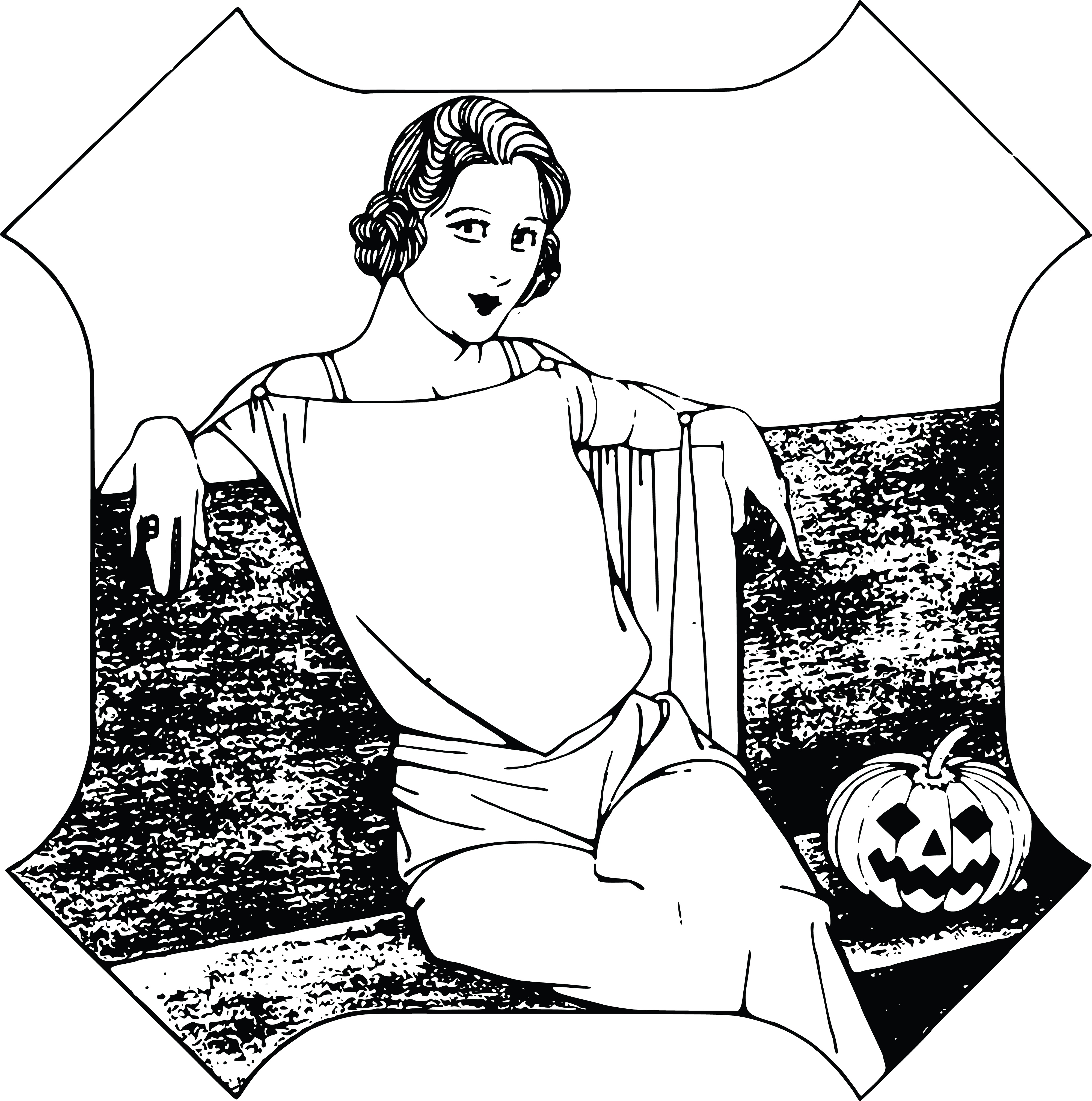 Free Clipart Of A Halloween Lady