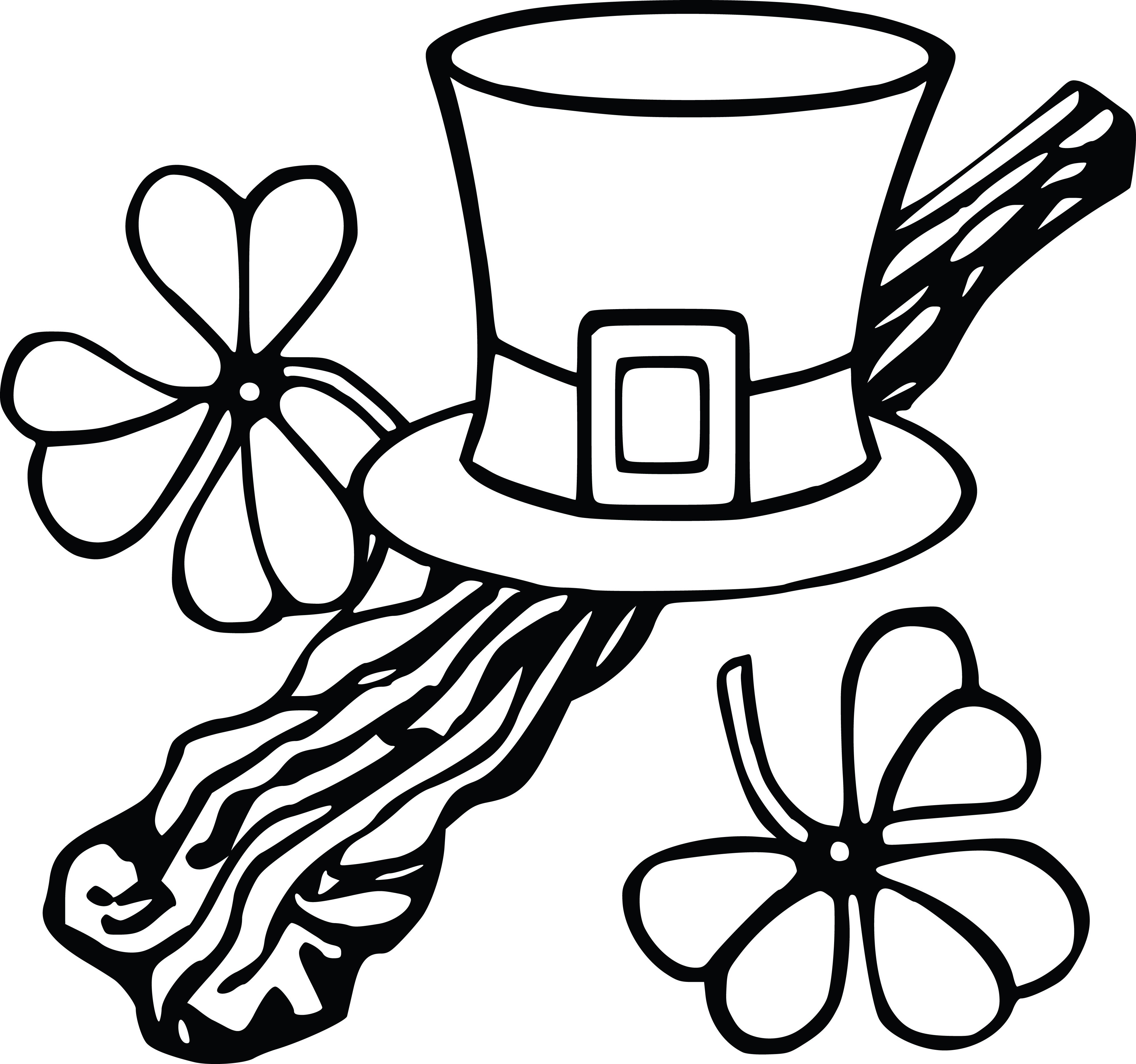 Free Clipart Of A Leprechan Hat And Shamrocks Black And White Coloring Page Lineart