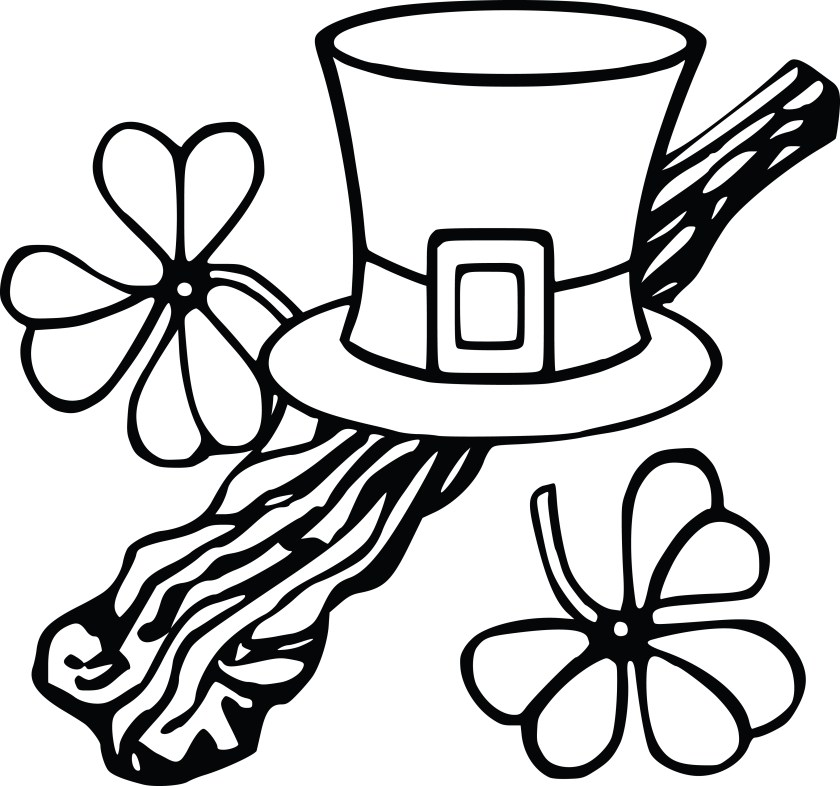 free clipart of a leprechan hat and shamrocks black and