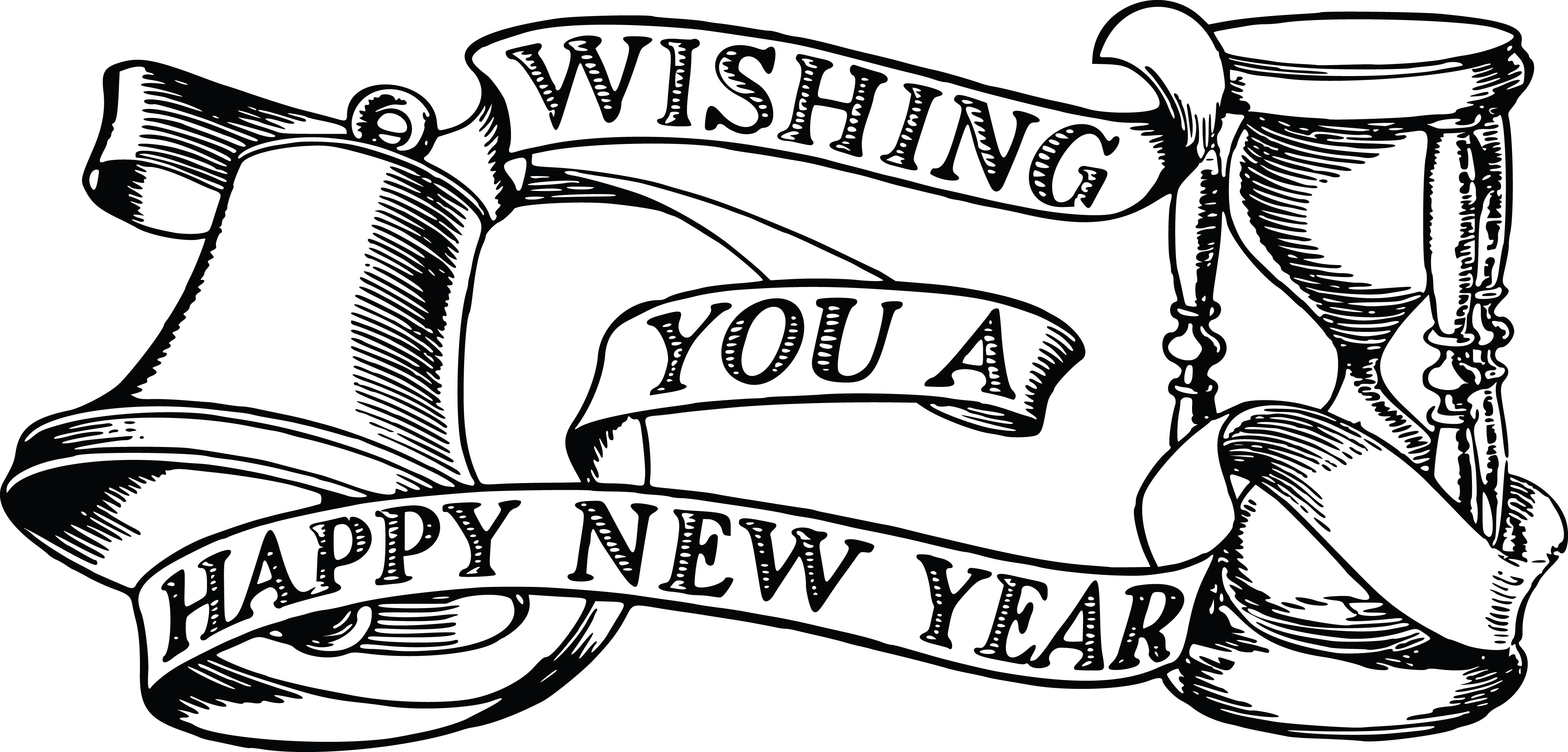 Free Clipart Of A Bell Hourglass And Happy New Year Banner
