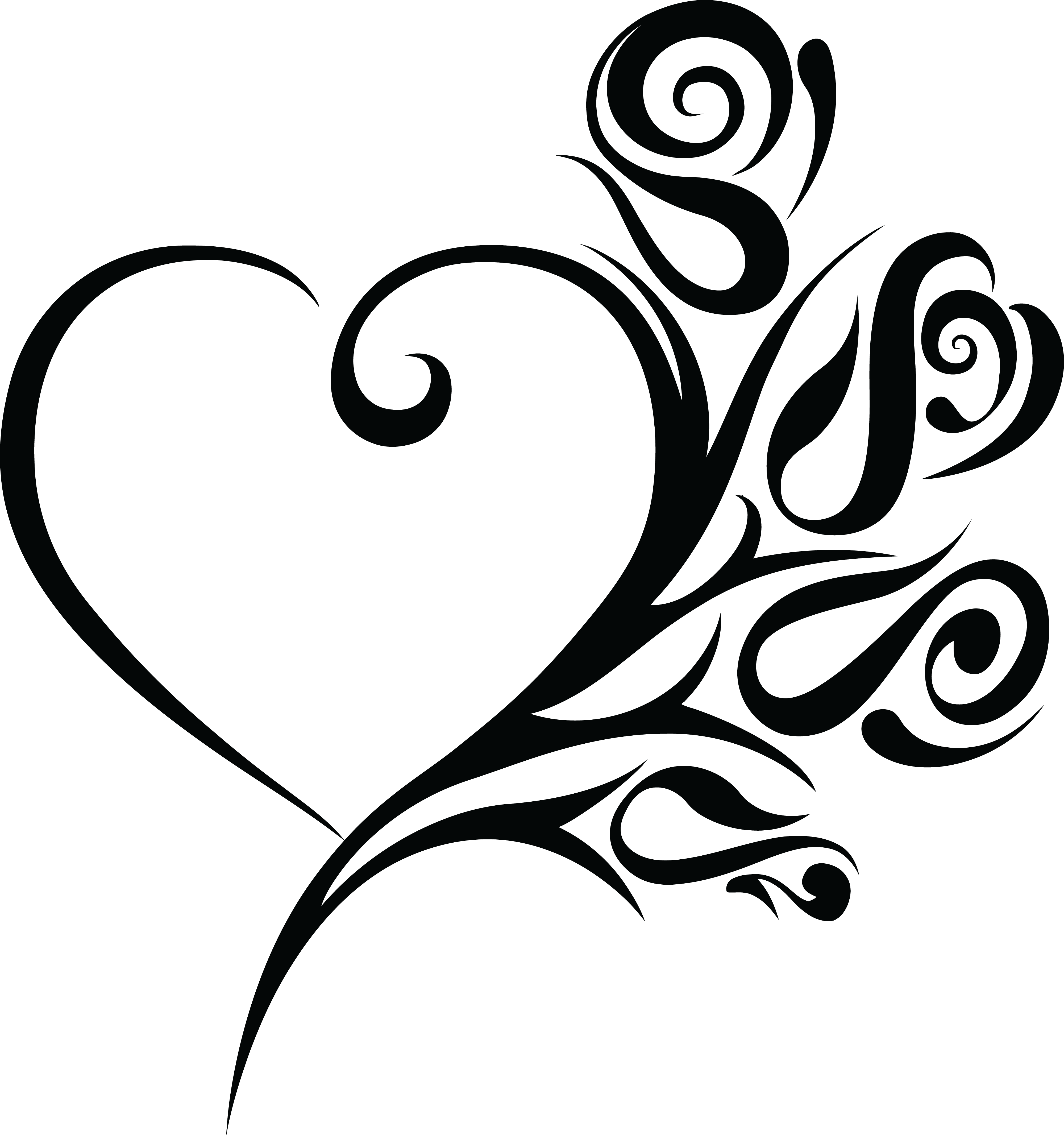 Free Clipart Of A Heart Wedding Frame With Black And White