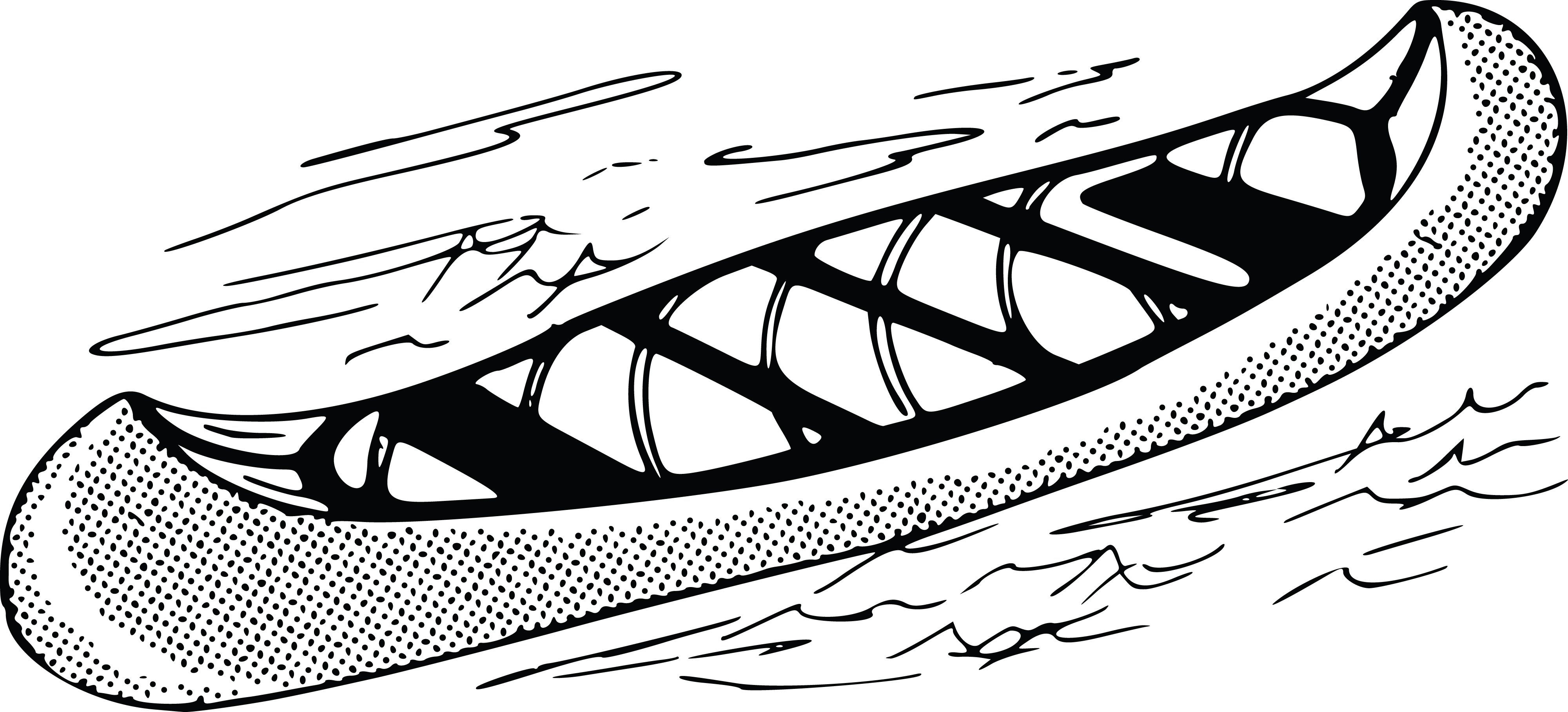 Free Clipart Of A Retro Black And White Canoe