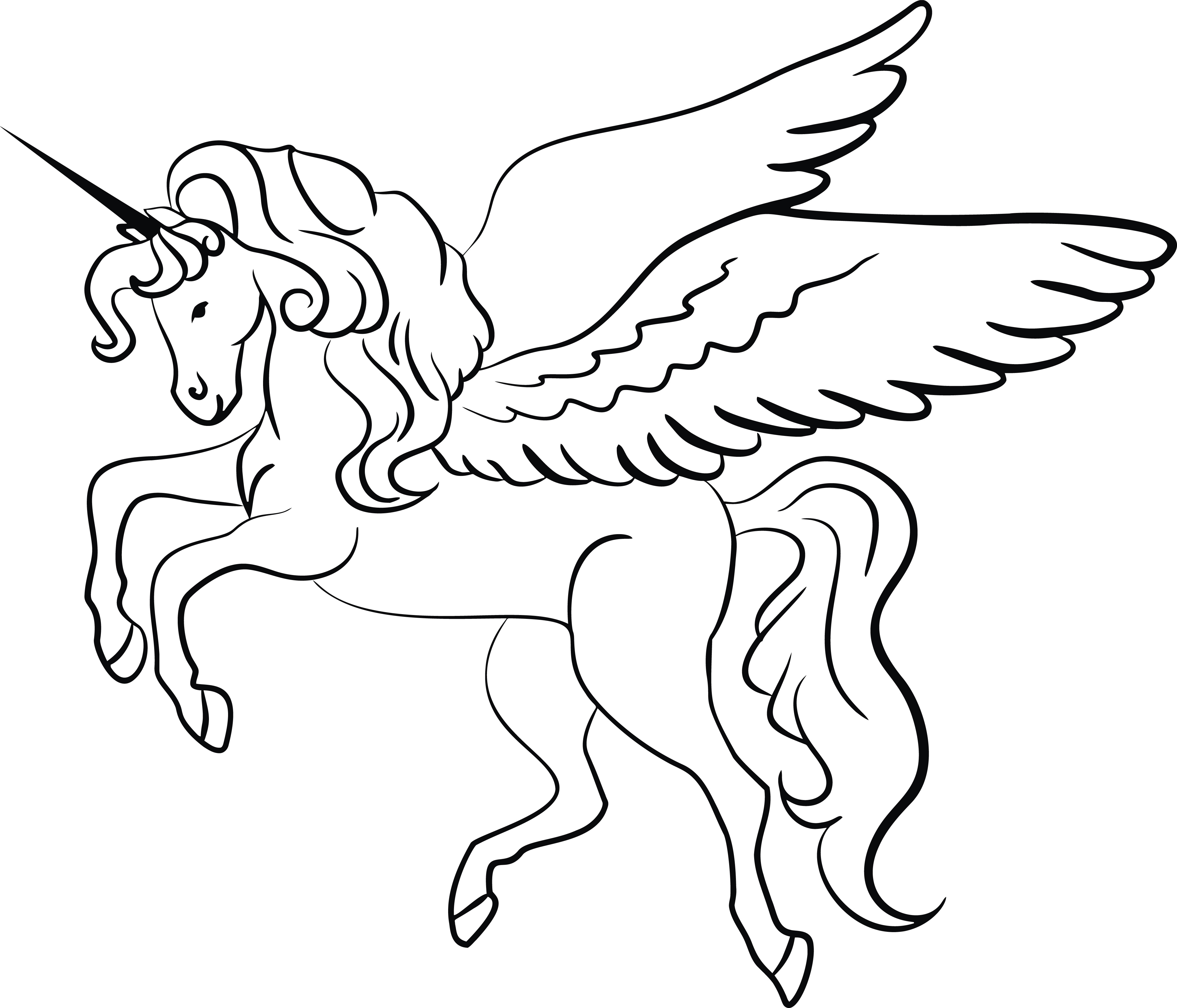 Free Clipart Of A Lineart Unicorn Black And White