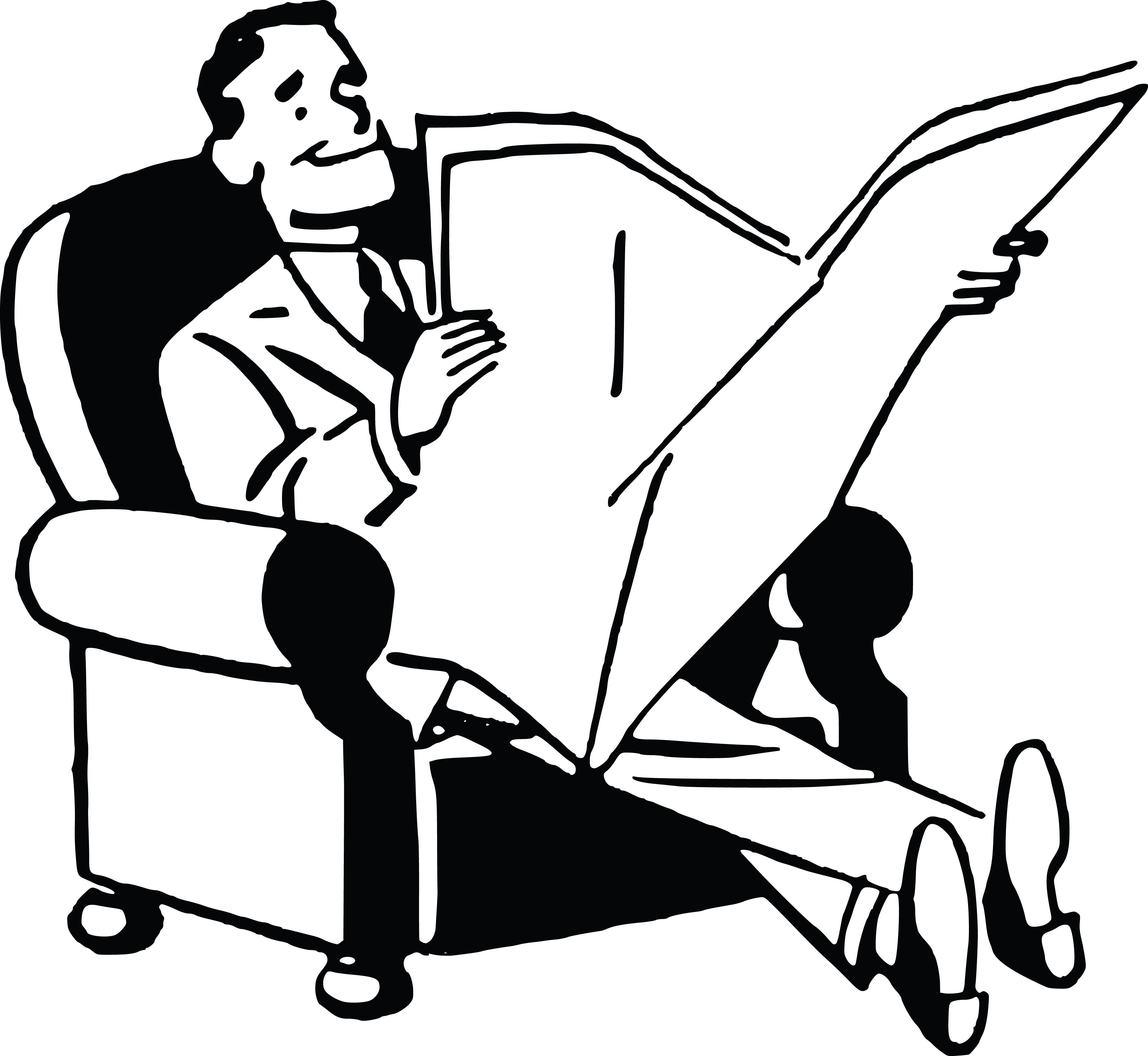 Free Clipart Of A Black And White Retro Man Reading A
