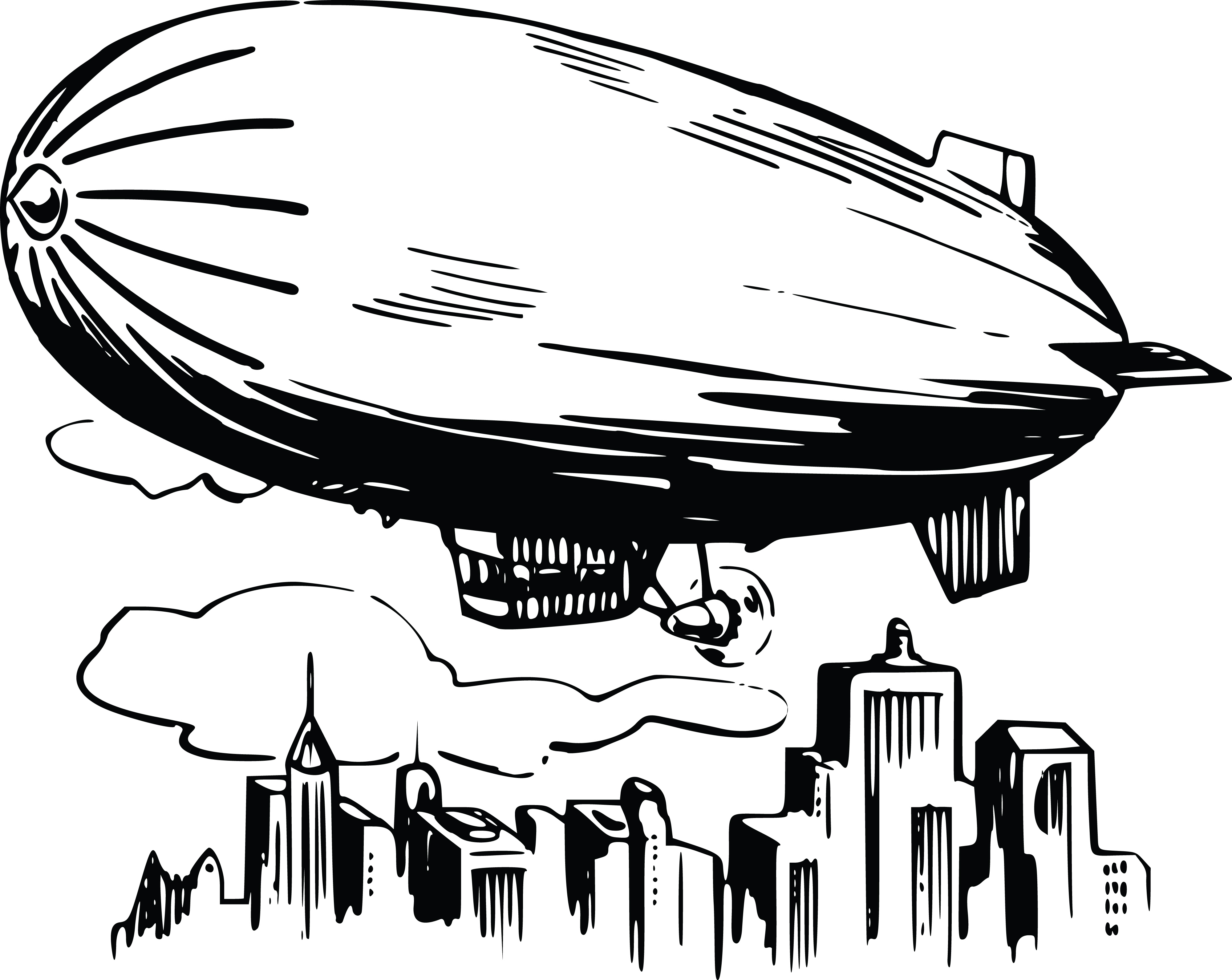 Free Clipart Of A Blimp Airship Over A City