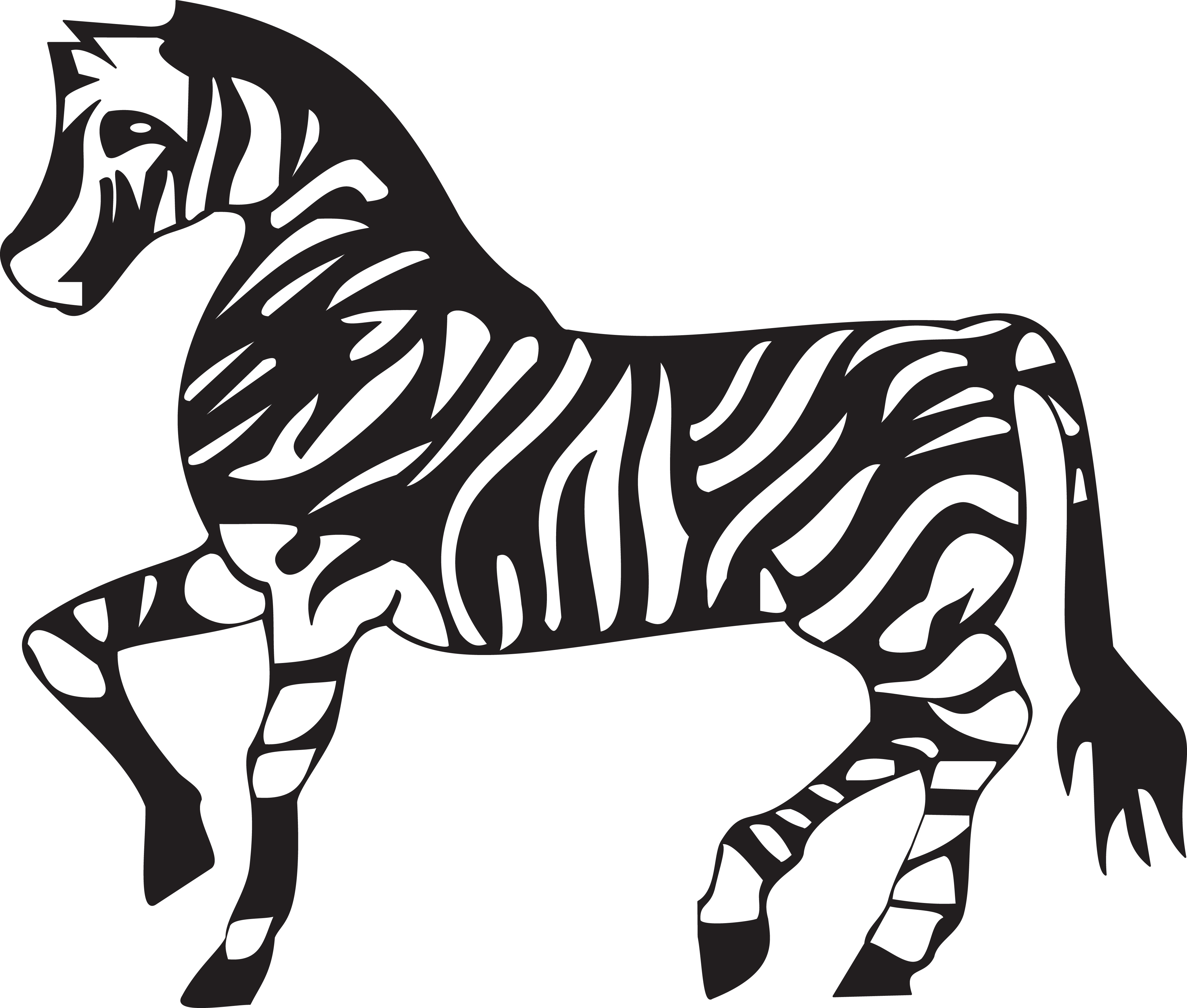 Free Clipart Of A Black And White Walking Zebra