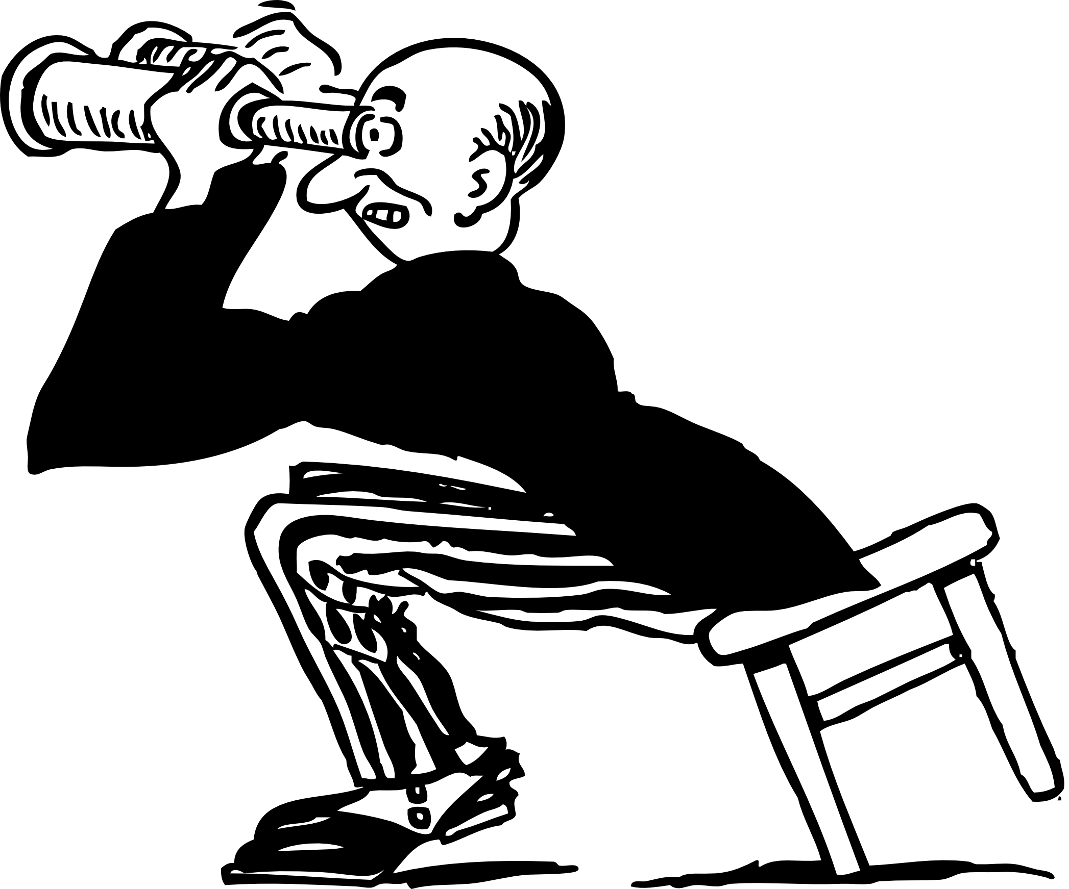 Free Retro Clipart Illustration Of Man Using Binoculars