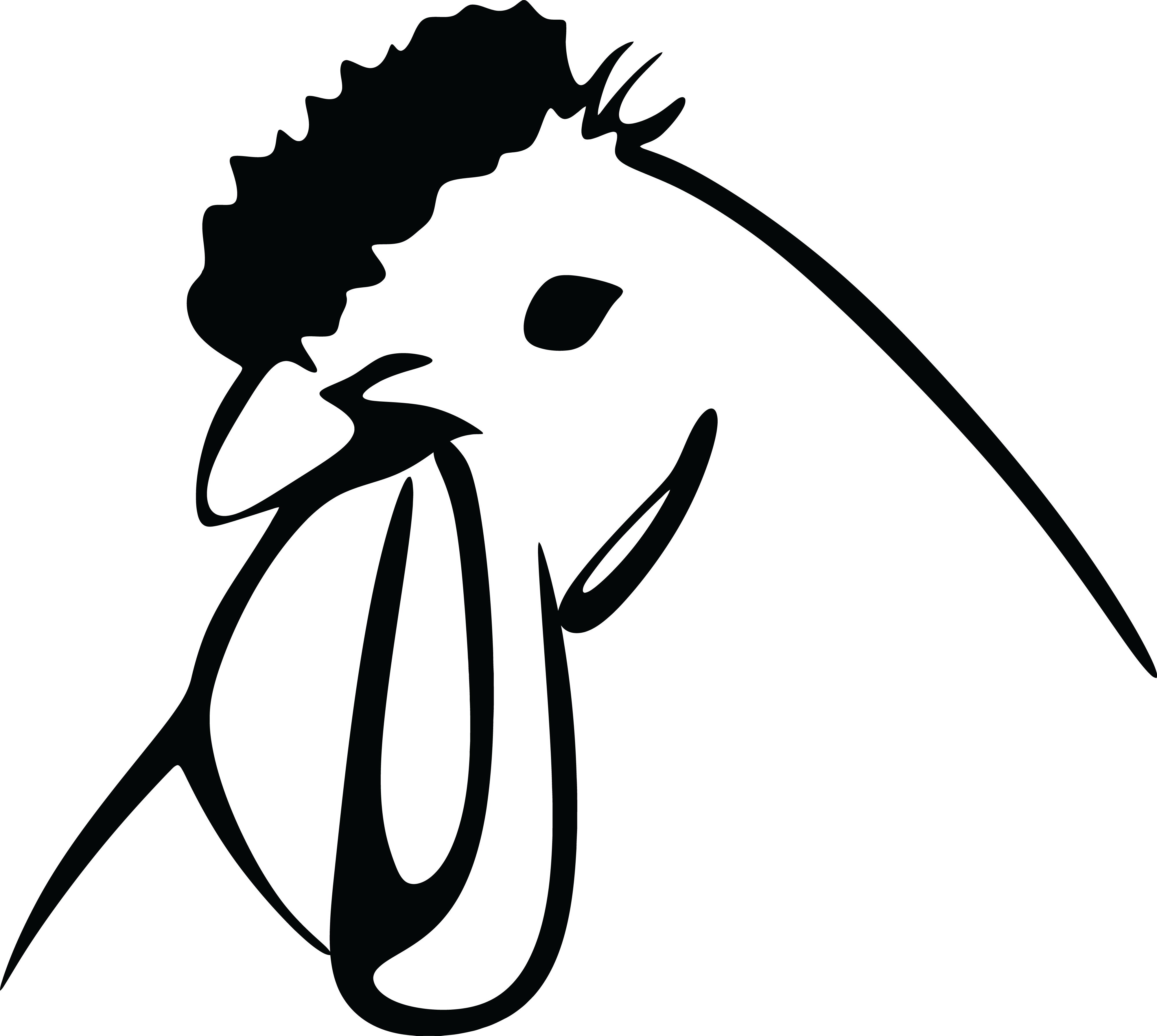 Free Clipart Of A Black And White Chicken Head