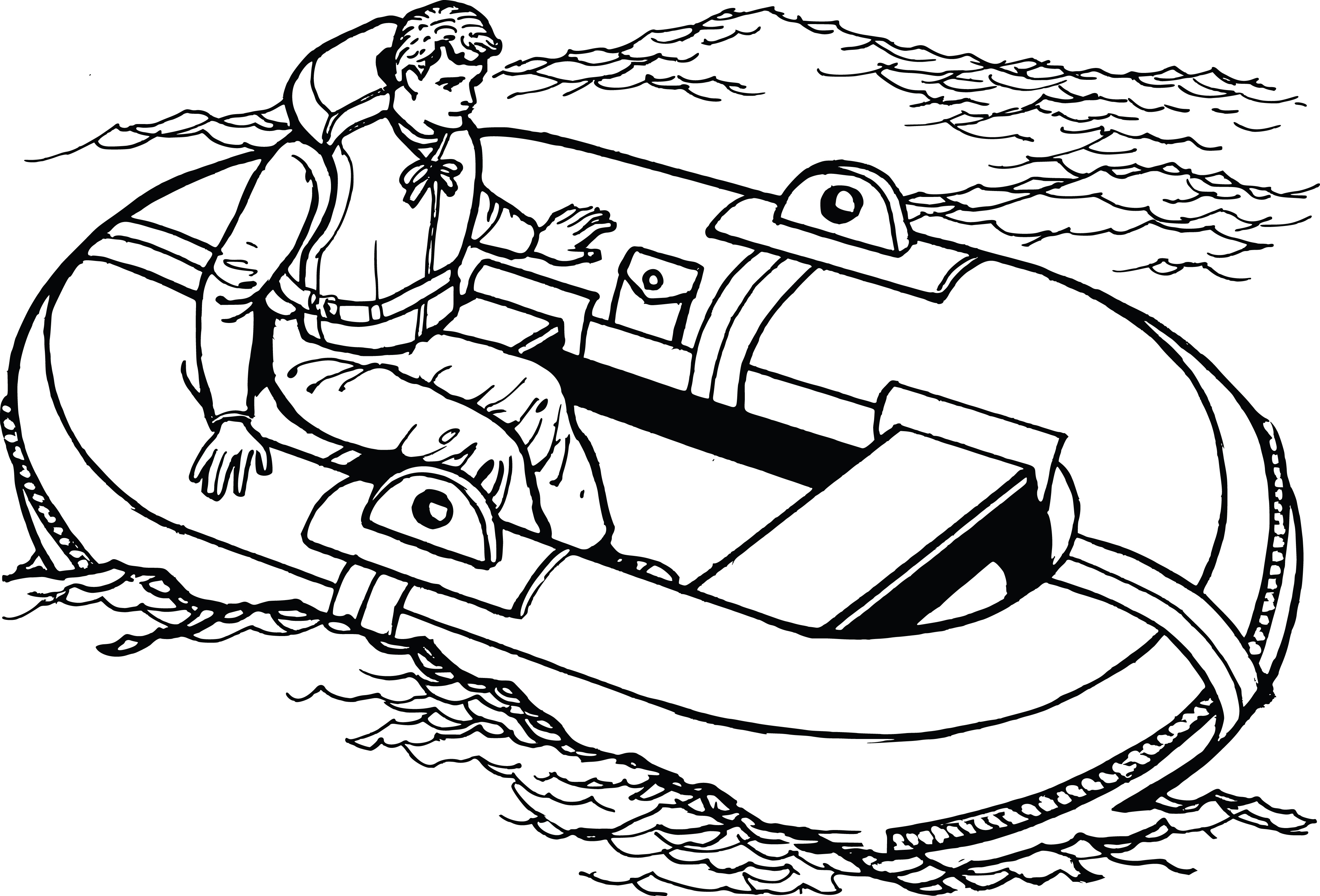 Free Clipart Of A Man In A Life Raft