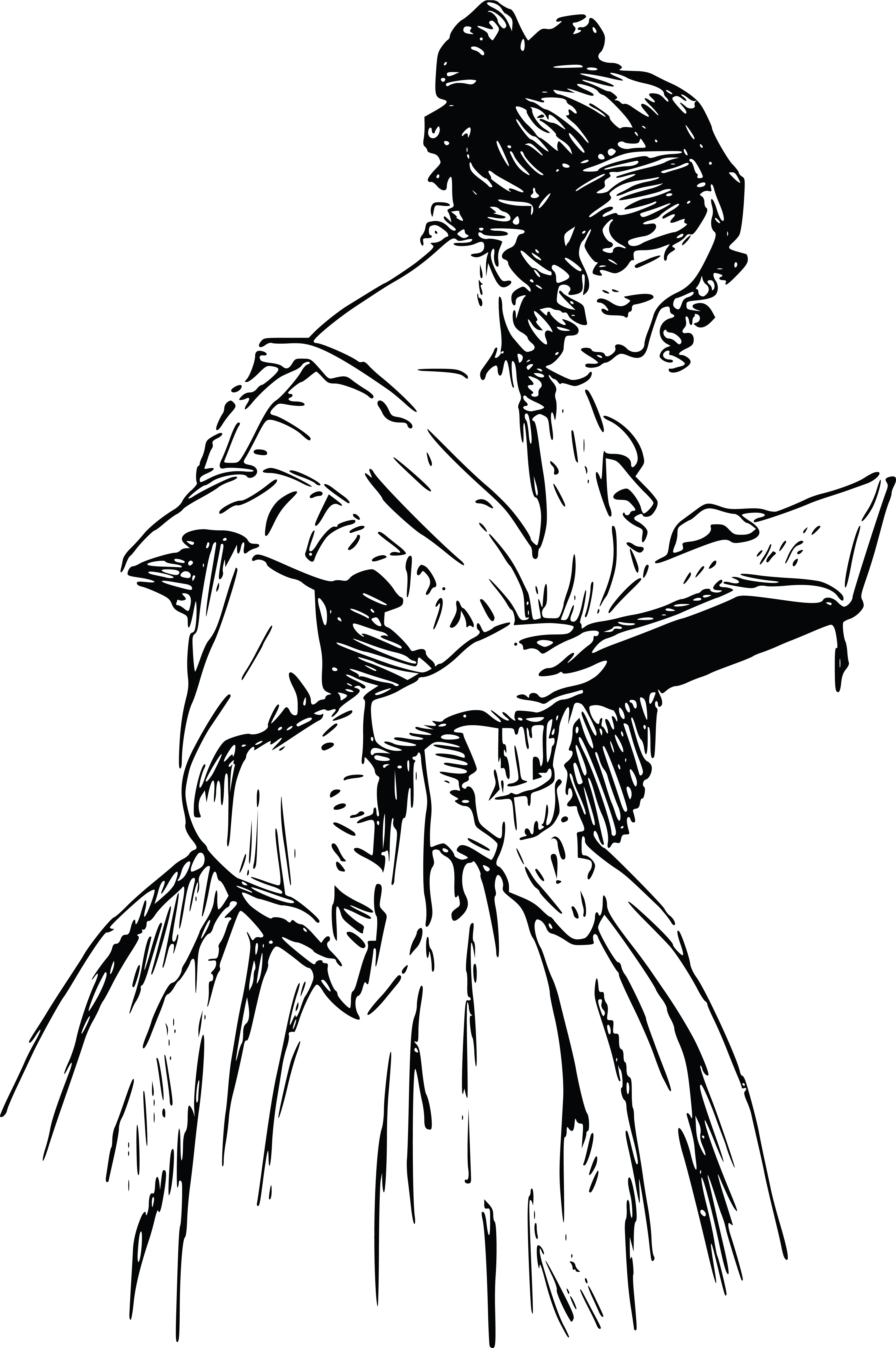Free Clipart Of A Vintage Woman Reading