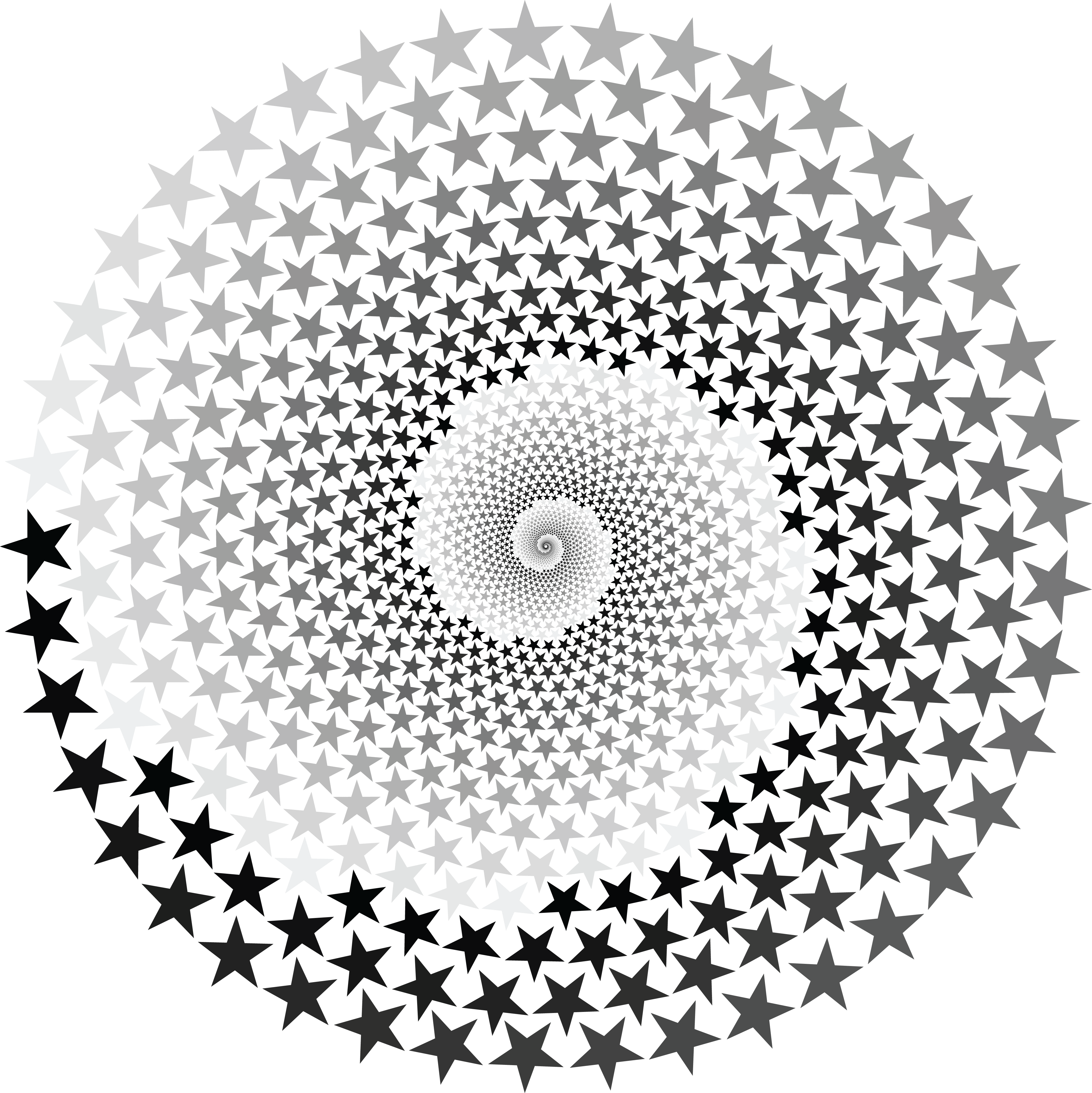 Free Clipart Of A Grayscale Star Vortex
