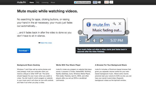 Mute.fm 開啟影片時自動將進行中的音樂靜音、暫停,結束後自動恢復播放